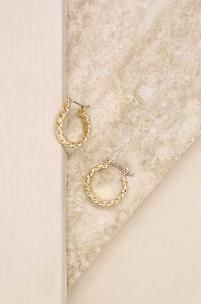 Textured 18k Gold Plated Mini Hoops