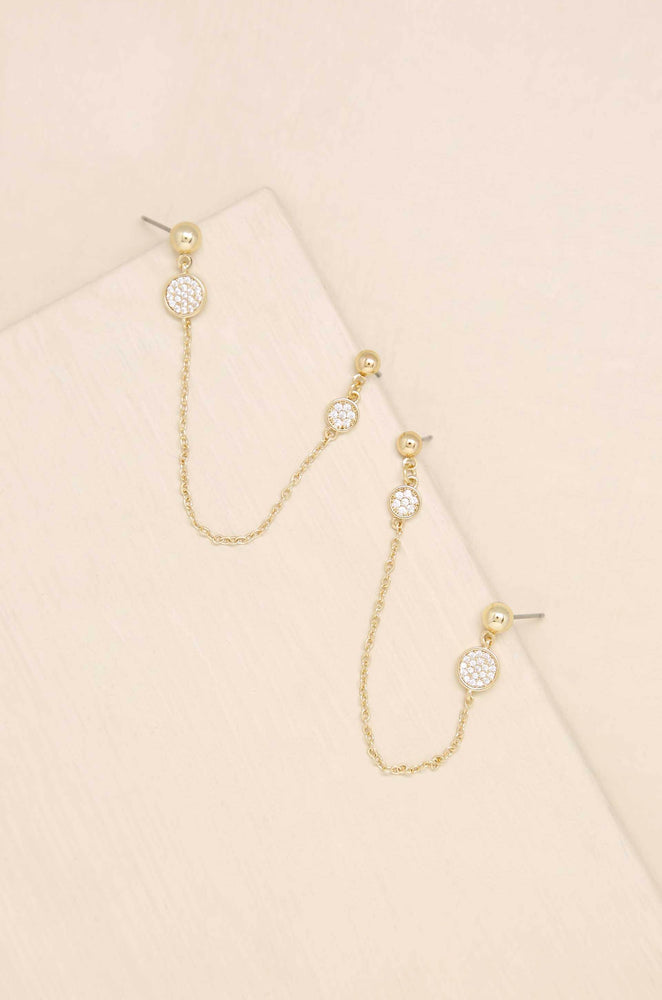 Two Hole Piercing 18k Gold Plated Chain Drop Earrings