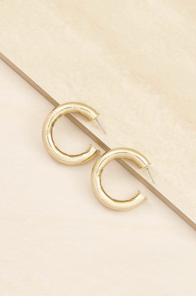 Thick and Minimal 18k Gold Plated Hoops