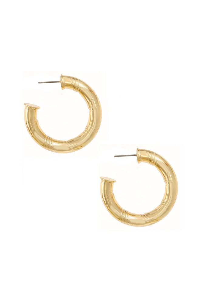 Thick and Minimal 18k Gold Plated Hoops on white background 2