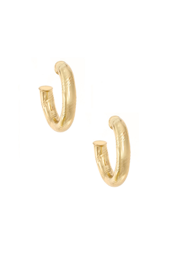 Thick and Minimal 18k Gold Plated Hoops on white background