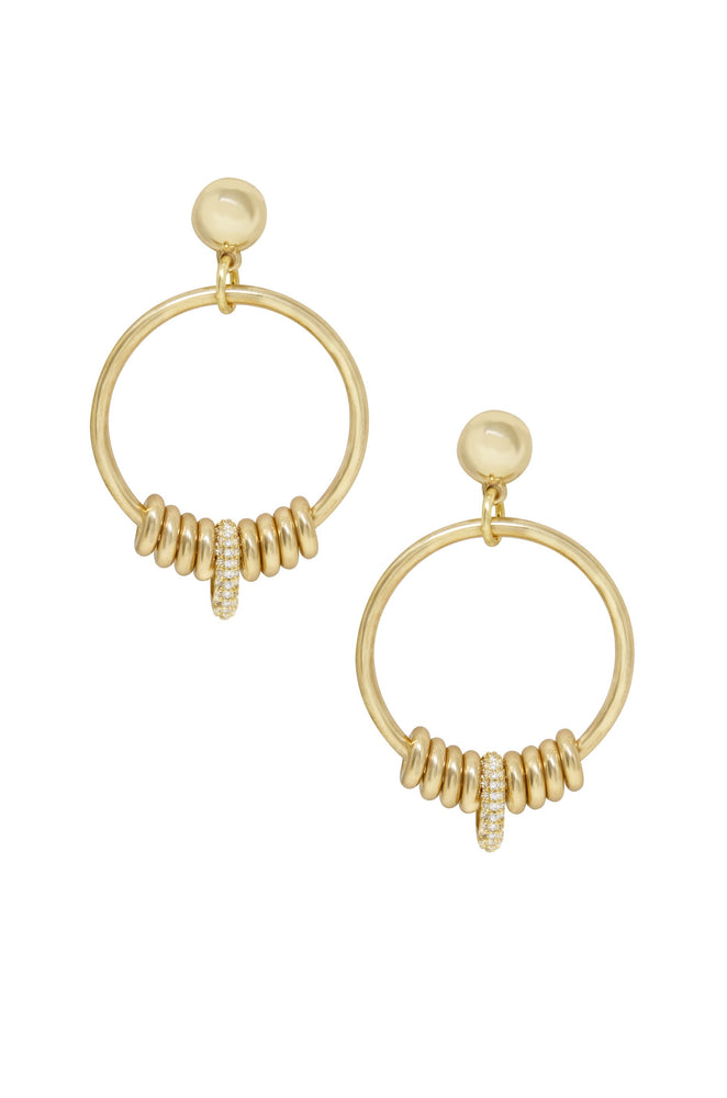 Multi-Ring Slider 18k Gold Plated Earrings on white background