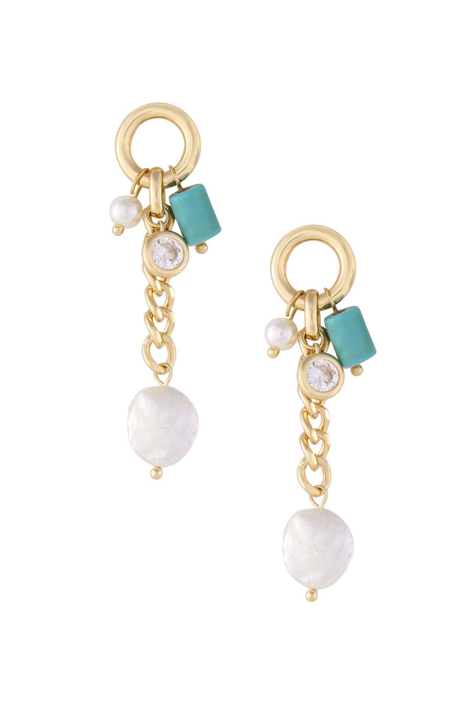 Pearl, Turquoise, and Crystal Charm 18k Gold Plated Dangle Earrings