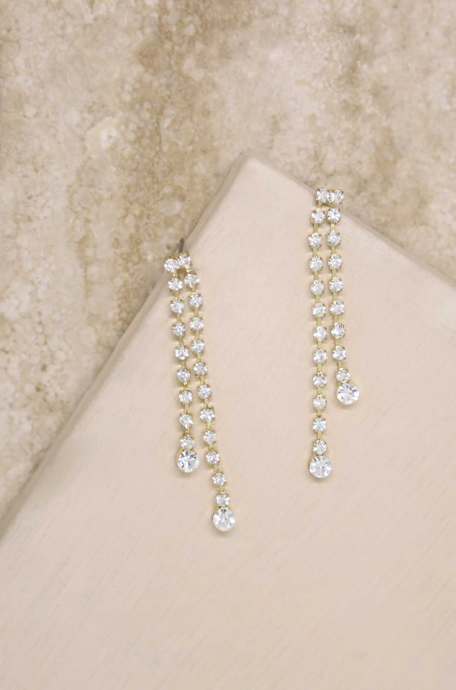 Crystal Sun Shower 18k Gold Plated Dangle Earrings