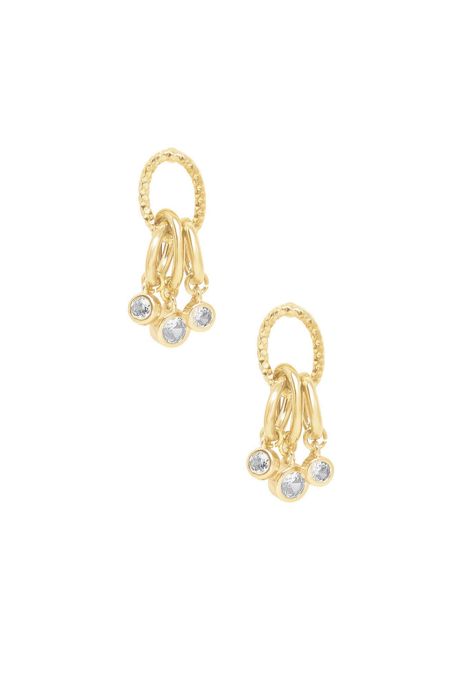 Mini Crystal Jingle Dangle 18k Gold Plated Earrings