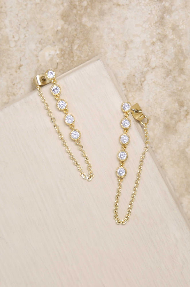 Crystal Chain Danglers 18k Gold Plated Earring
