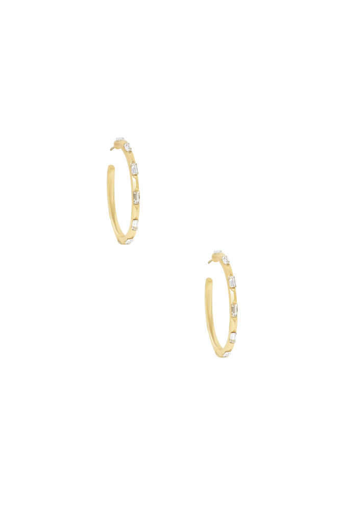 Crystal Set In 18k Gold Plated Hoops on white background