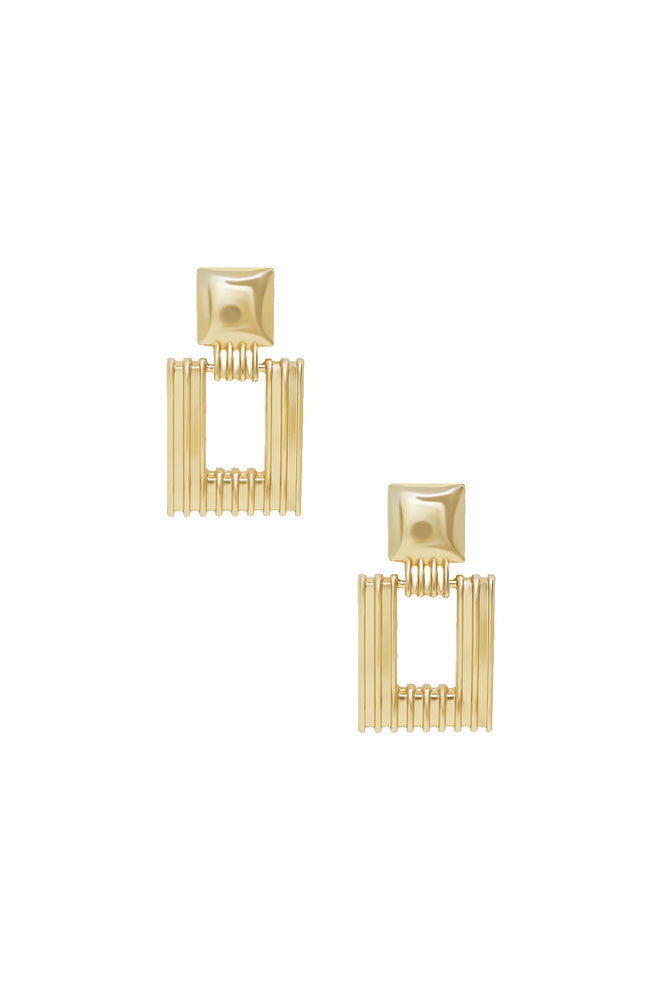Moving Up Square Dangle 18k Gold Plated Earrings