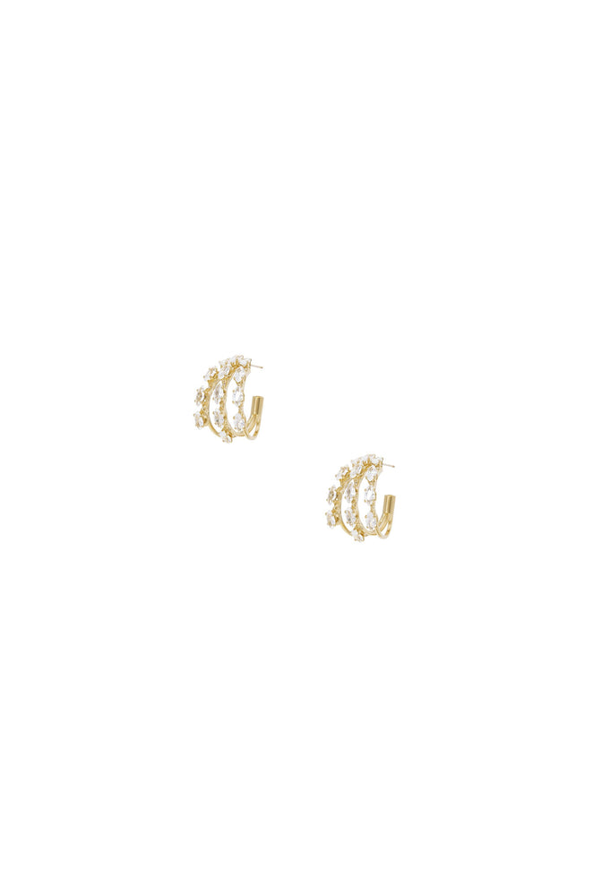 Multi-Crystal Huggie Hoop Earrings in Gold