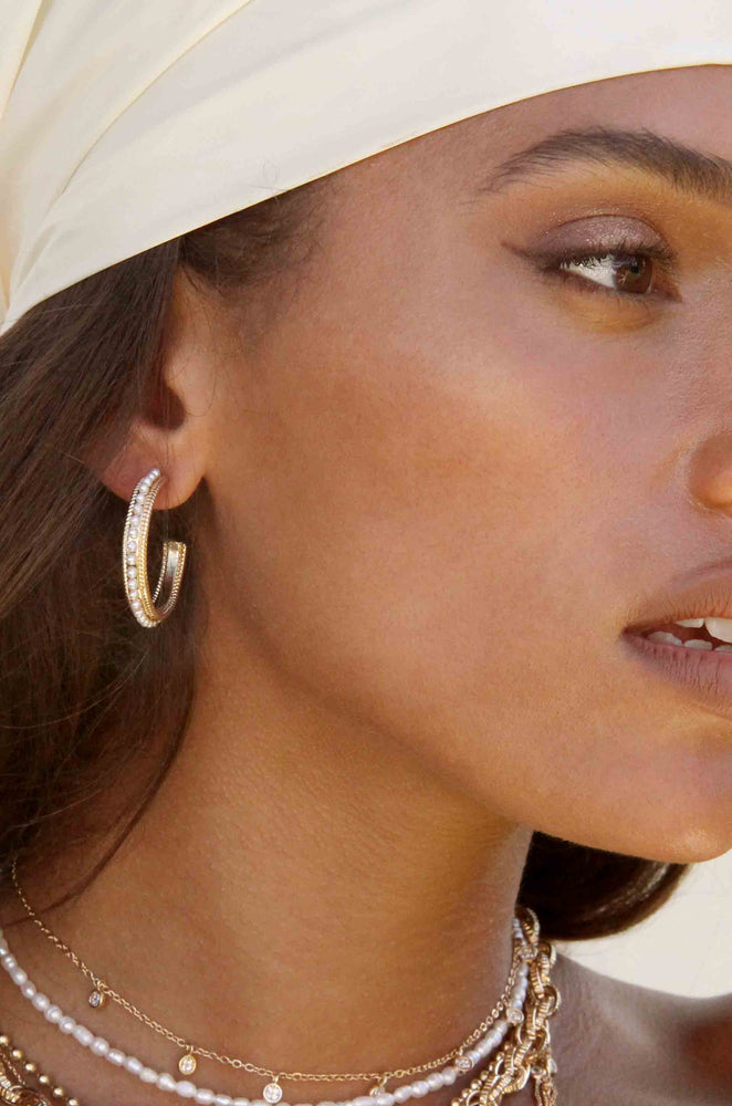 Small Talk Pearl & 18k Gold Plated Hoop Earrings shown on a model