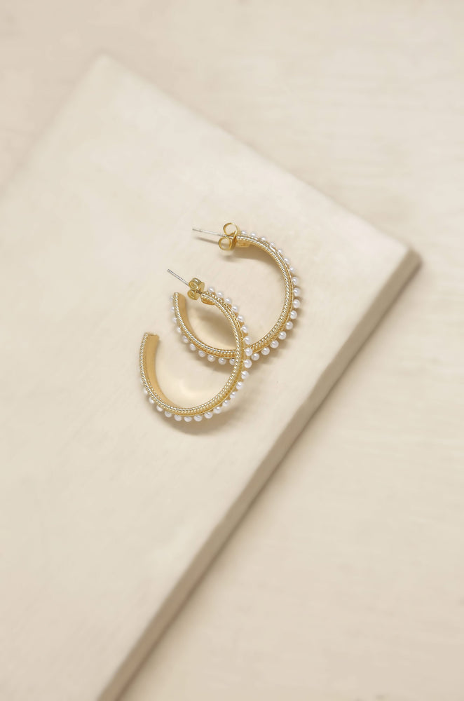 Small Talk Pearl & 18k Gold Plated Hoop Earrings on slate background 2