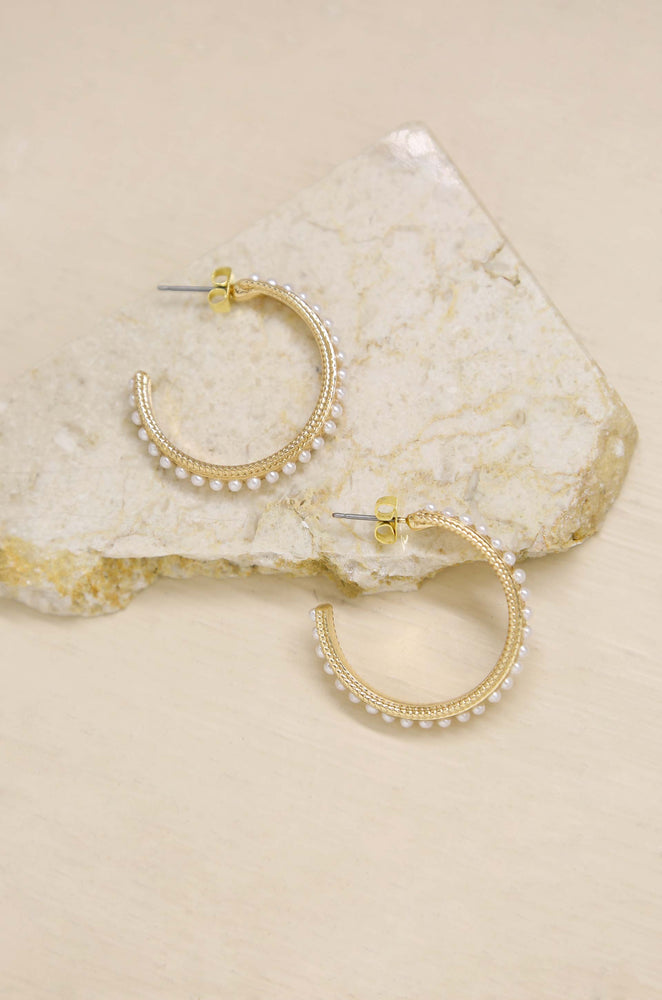 Small Talk Pearl & 18k Gold Plated Hoop Earrings on slate background