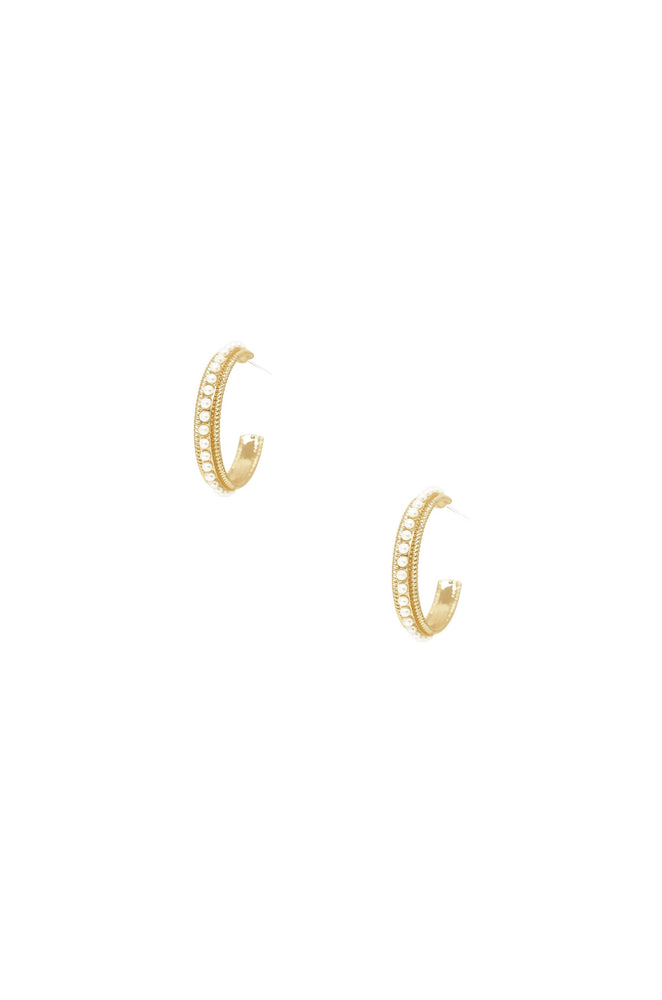 Small Talk Pearl & 18k Gold Plated Hoop Earrings on white background