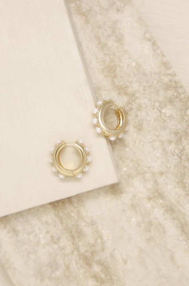 Pearl & 18k Gold Plated Mini Huggie Hoop Earrings
