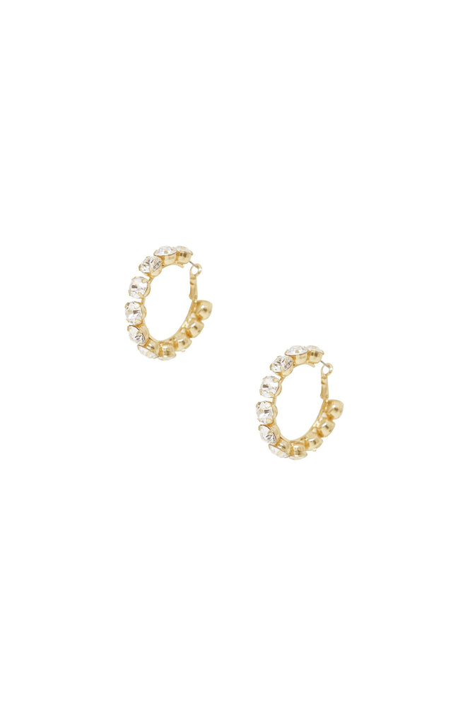Small Crystal & 18k Gold Warrior Hoop Earrings on white background