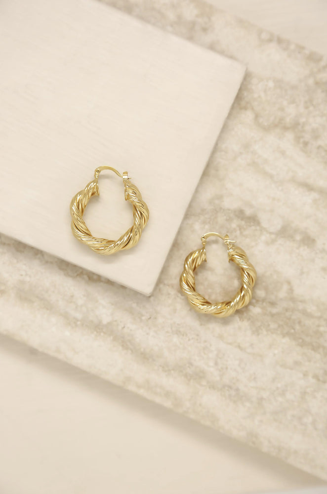 Modern Day 18k Gold Plated Twist Hoops