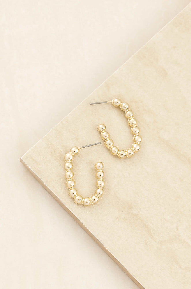 Golden Bauble 18k Gold Plated Hoop Earrings on slate background