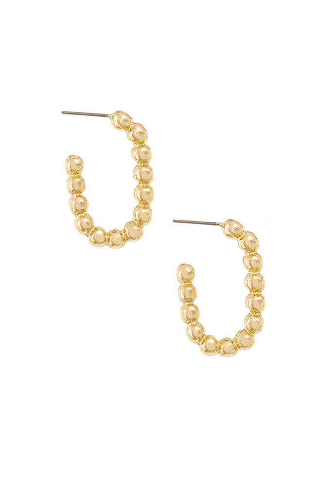 Golden Bauble 18k Gold Plated Hoop Earrings on white background  2