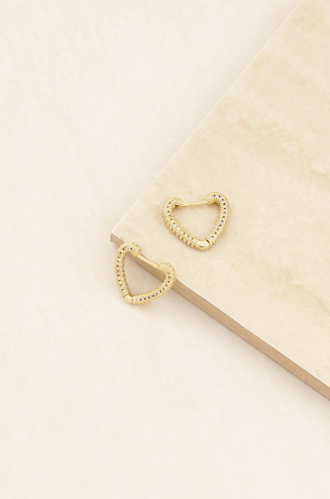 Mini Crystal Cluster Heart 18k Gold Plated Hoop Earrings on slate background