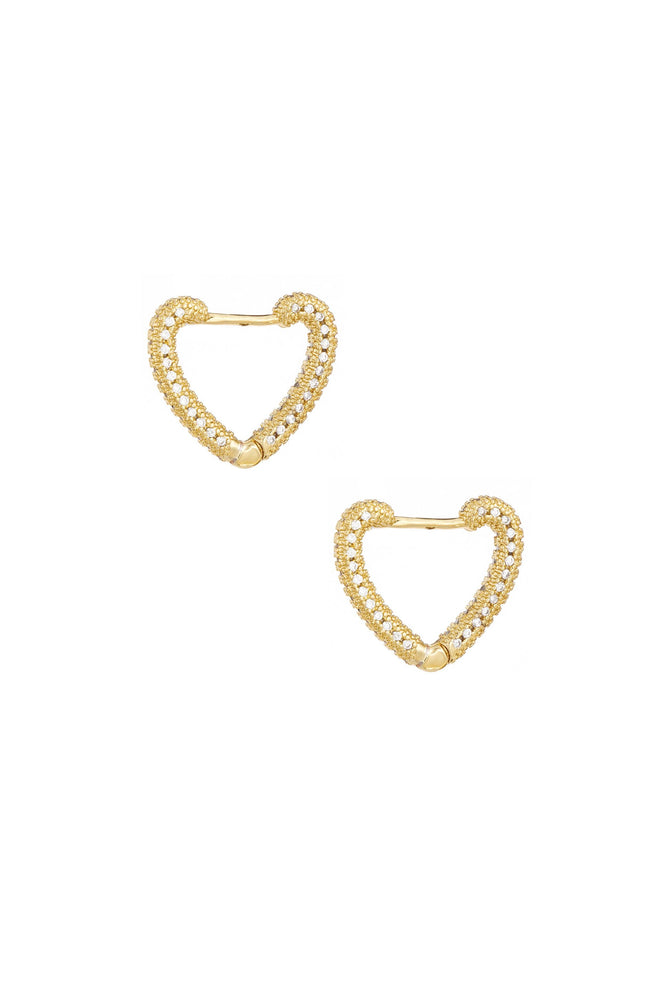 Mini Crystal Cluster Heart 18k Gold Plated Hoop Earrings on white background  2