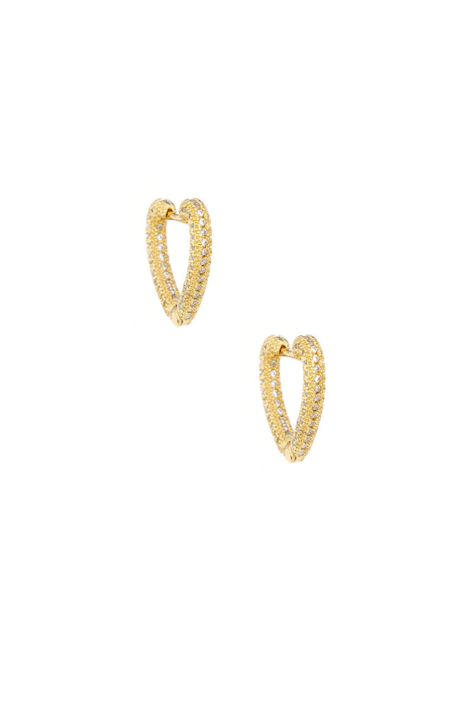 Mini Crystal Cluster Heart 18k Gold Plated Hoop Earrings on white background