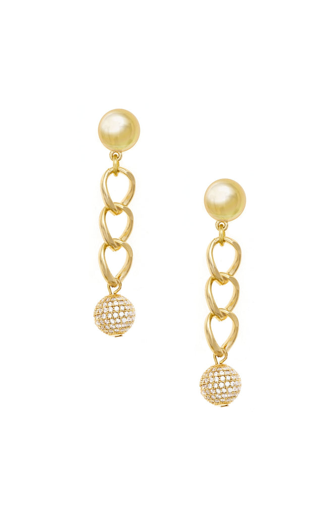 Chain Dangle Crystal Ball 18k Gold Plated Earrings