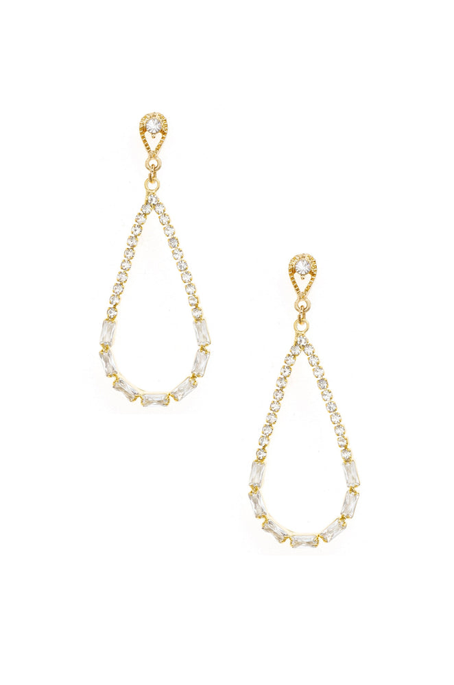 Angels City Drop Crystal 18k Gold Plated Earrings