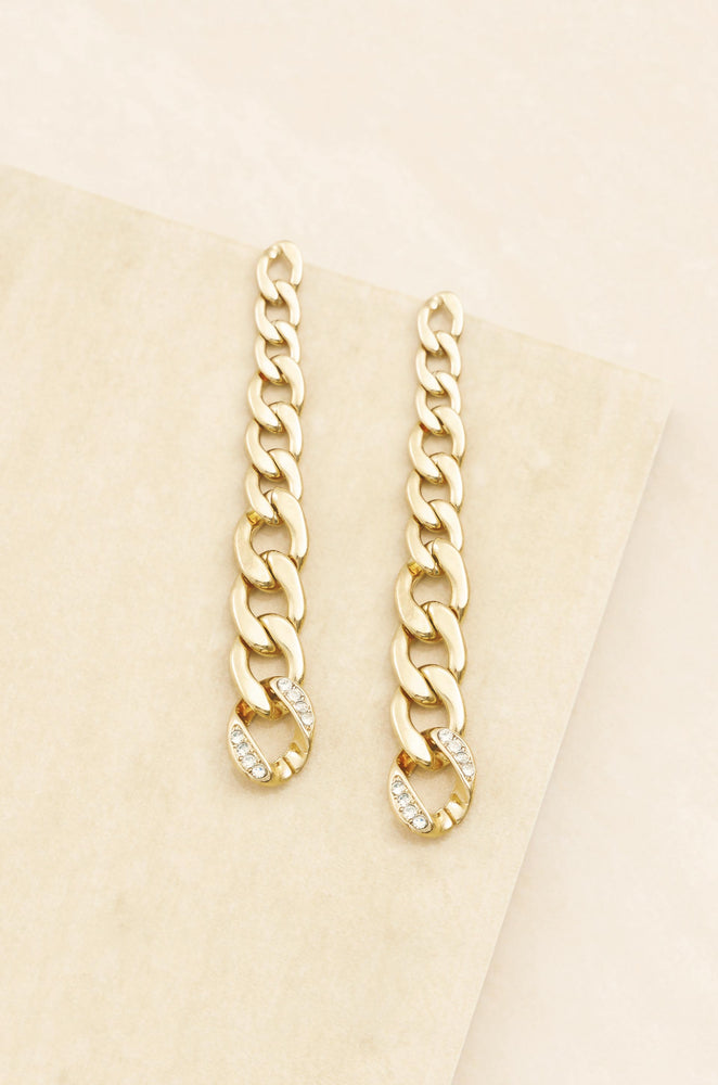 Chain Link Sway 18k Gold Plated Dangle Earrings
