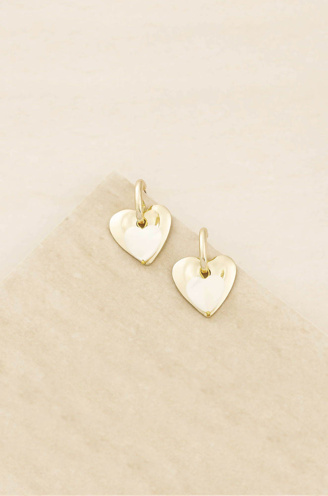 Simple Sweet Mother of Pearl and 18k Gold Plated Heart Earrings
