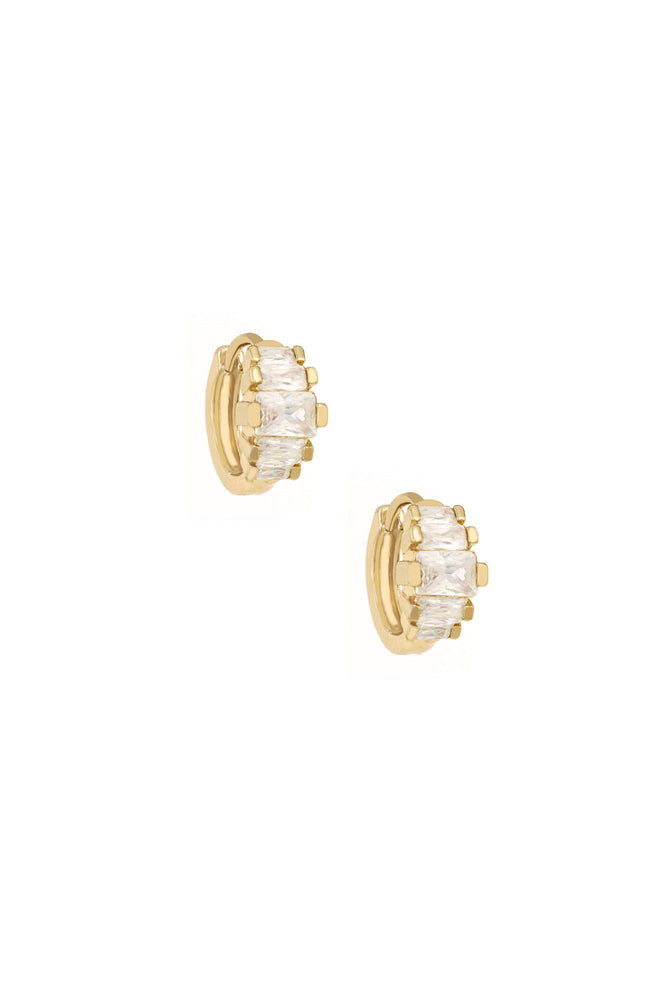 Diamond Shine 18k Gold Plated Mini Hoop Earrings