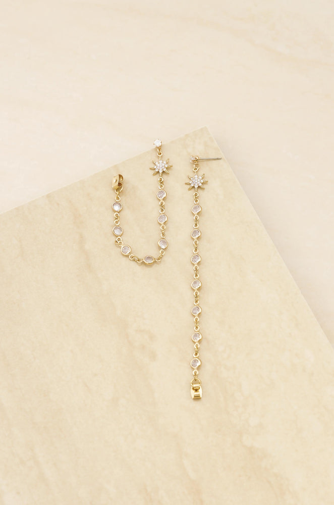Starburst Crystal Chain Dangle 18k Gold Plated Earrings