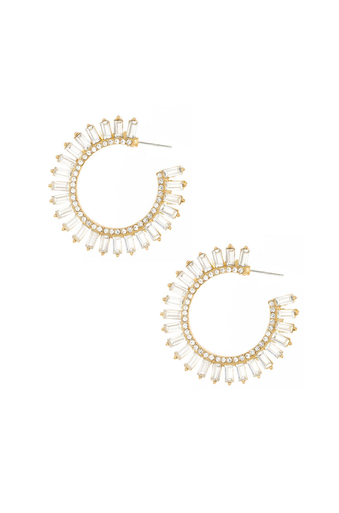 Crystal Petals 18k Gold Plated Hoop Earrings on white background  2