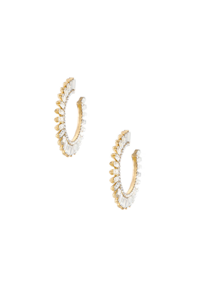 Crystal Petals 18k Gold Plated Hoop Earrings on white background