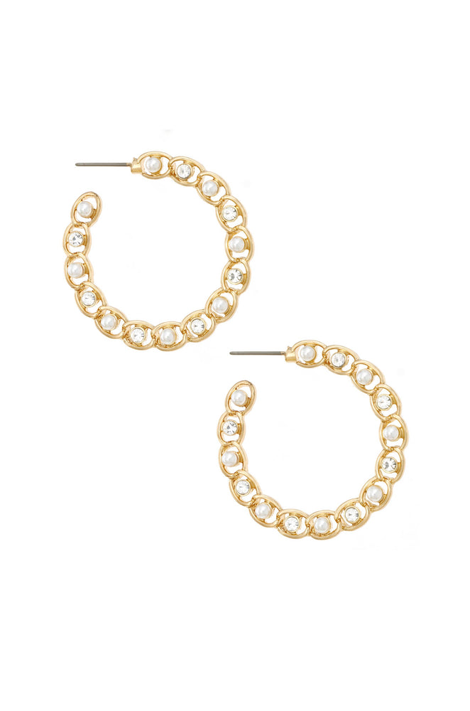 Elite Crystal 18k Gold Plated Hoop Earring on white background  2