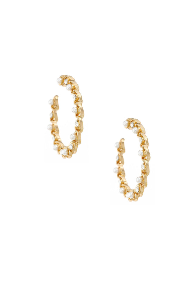 Elite Crystal 18k Gold Plated Hoop Earring on white background