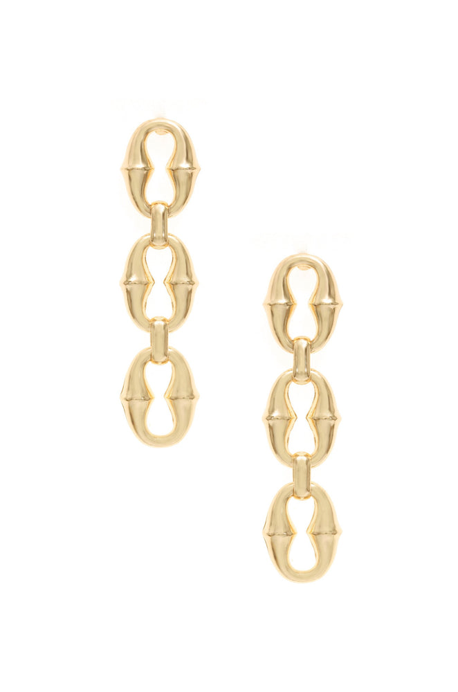 Triple Link Drop 18k Gold Plated Earrings on white background