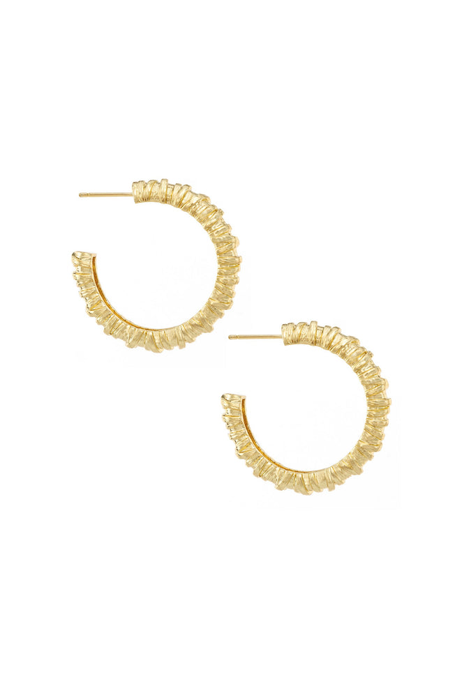 Athena Mini Textured 18k Gold Plated Hoop Earrings