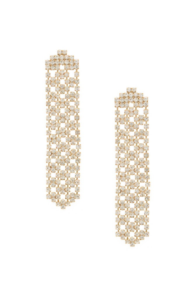 Crystal Quilted 18k Gold Plated Dangle Earrings