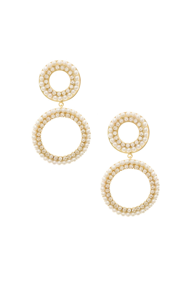 Double Circle Pearl and Crystal 18k Gold Plated Drop Earrings