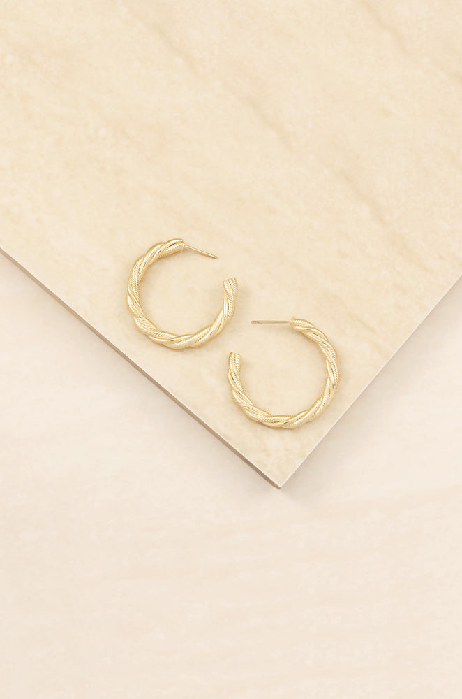 Spun Strands 18k Gold Plated Hoop Earrings on slate background