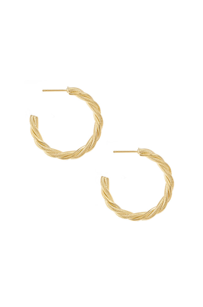 Spun Strands 18k Gold Plated Hoop Earrings on white background 2