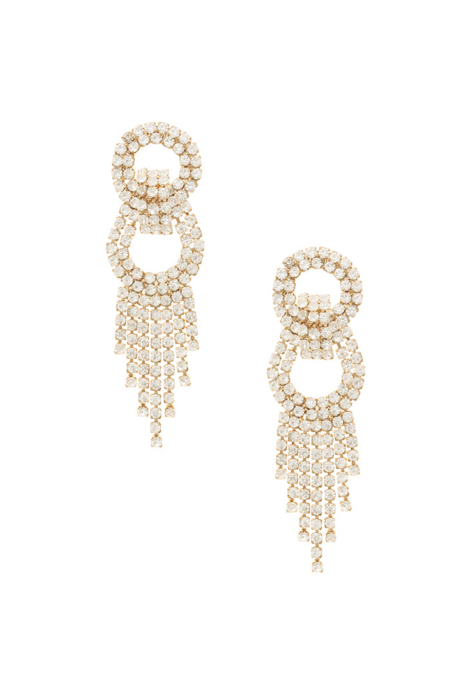 Crystal Gatsby 18k Gold Plated Statement Earrings