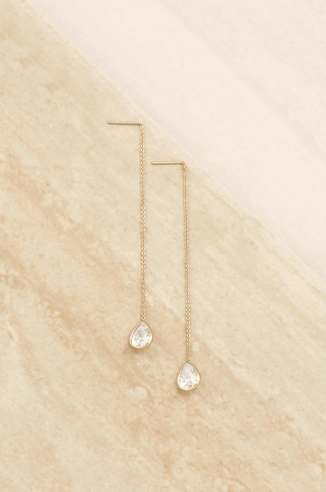 Barely There 18k Gold Plated Chain and Crystal Dangle Earrings