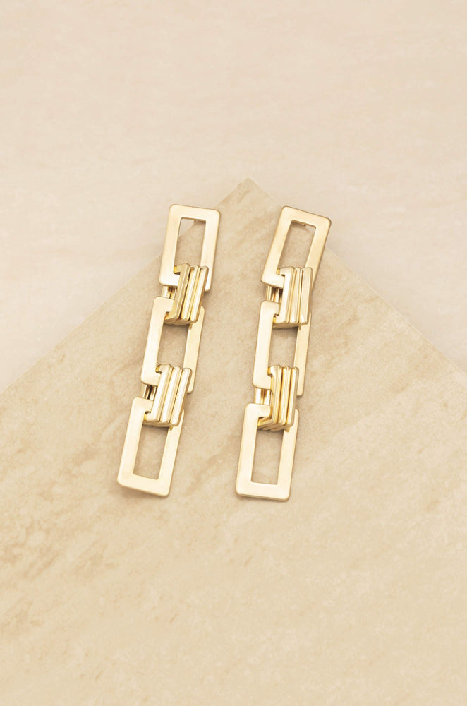 Odessa Dangle 18k Gold Plated Link Earrings