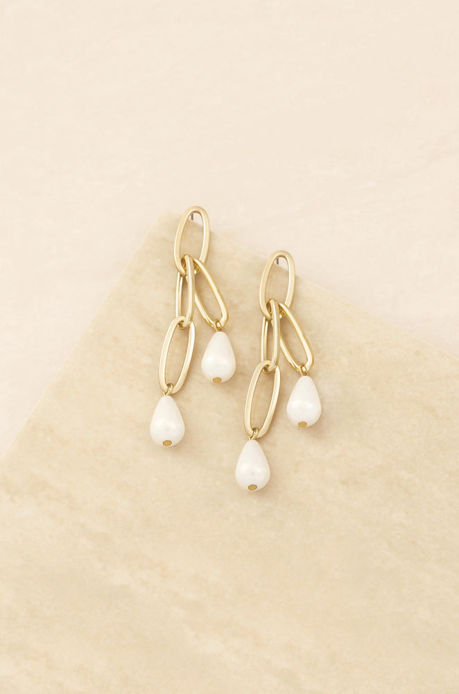 Pearl Chain 18k Gold Plated Earrings