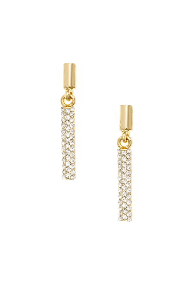 Single File Sparkle 18k Gold Plated Earrings