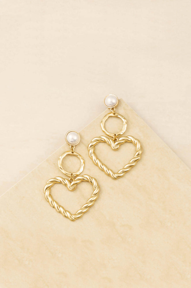 Twisted Heart Pearl and 18k Gold Plated Earrings
