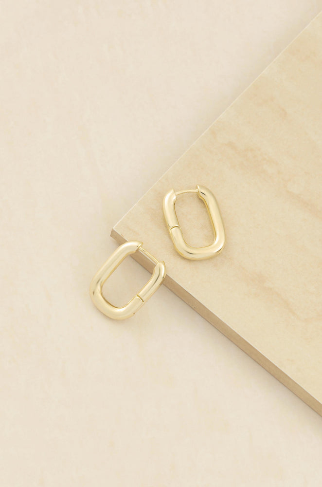 Mini Shapes 18k Gold Plated Hoop Earrings on slate background