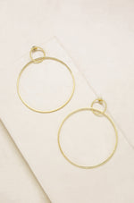 Extra Large Interlocking 18k Gold Plated Hoop Earrings