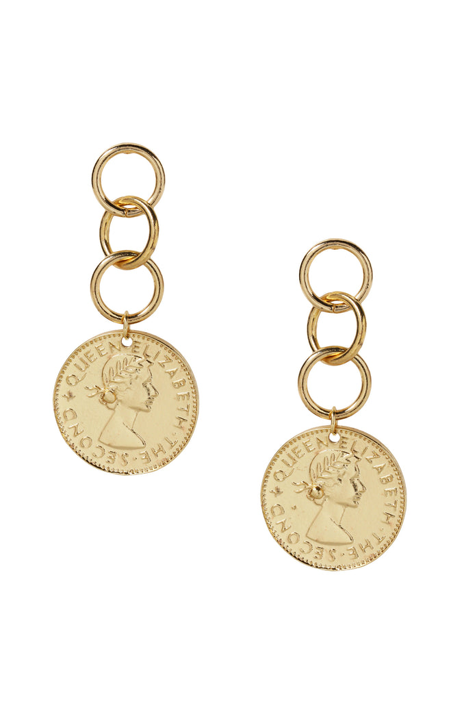Coin Stopper Earrings in Gold